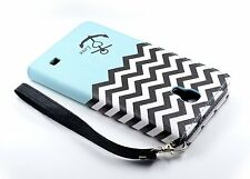Samsung Galaxy Mega 2  PU Leather Flip Folio Wallet Pouch Case w/ Stand TEALANCH