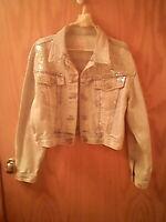 Dakota Blue Bolero style Jean Jacket L Vintage sequins Pockets 100% cotton