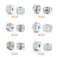 STOPPER CLIP LOCK Genuine Plated Silver Charm Beads Spacer Fit European Bracelet