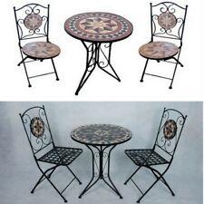 Arredo per esterno tavolino con mosaico 2 sedie in ferro battuto pieghevoli|3sd