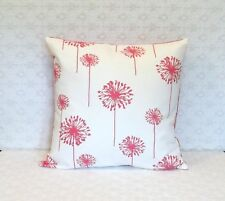 Dark Pink Ivory Dandelion Floral Canvas Fabric Pillow Cover 18x18