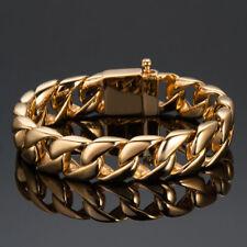 Massiver Herren gold Panzerarmband Edelstahl Armband Bikerschmuck 21.5cm