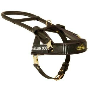 Reflective Assistance Guide Service Leather Dog Harness With Handle Medium Large