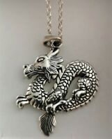 Beautiful Very Detailed Sterling Silver Chinese Dragon Pendant & Necklace