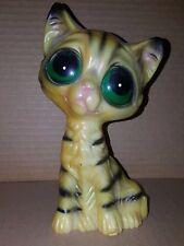"""Vintage Enesco Big Sad Eyes Eyed Kitty Kitten Cat Mid Century Kitsch Plastic 7"""""""
