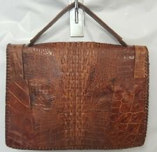 Vintage Crocodile Alligator Purse Handbag Unique Brown Leather Bag Taxidermy Vtg