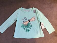 GAP-AQUA GREEN LONG SLEEVE T.SHIRT WITH FLORAL & LARGE SPARKLY DRAGONFLY-2y-BNWT