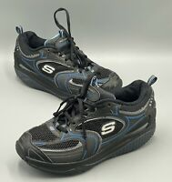 Skechers Shape Ups Sz 7.5 Black Blue Toning Walking Womens Shoes In EUC (12320)