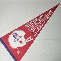 "Vtg 1970s New England Patriots Felt Pennant 30"" Red White Blue 2 Bar Helmet NOS"