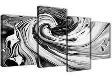 Large Nero Bianco Grigio SPIRALI astratto tela art - 4 Panel-larghezza 130 cm - 4354