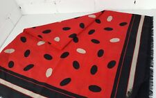 "LADIES COTTON SCARF/PASHMINA - 48"" SQUARE - RED BLACK POLKA DOTS, UNUSED"