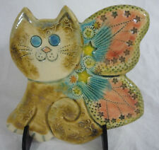 Vintage Signed Studio Pottery Wall Plaque -Cute Kitten w/ Butterfly Wings Pastel