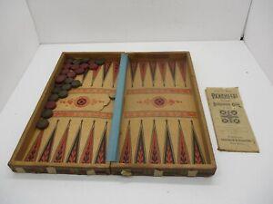 Selchow & Righter Antique 1890 Backgammon Checkers Chess Board