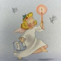 Vintage Mid Century Christmas Greeting Card Pretty Angel Girl Holds Pink Candle