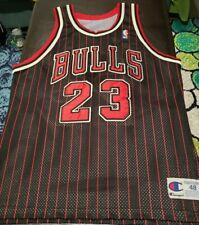 Vintage Bulls Authentic Michael Jordan Black Red Pinstripe Jersey Last Dance 48