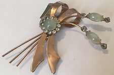 VINTAGE ART DECO ROSE GOLD TONE CELADON GREEN JADE RHINESTONE LARGE PIN BROOCH