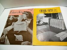 CHAIR SETS Thread Crochet Patterns Vintage Home Decor Heart Rose Filet Pineapple