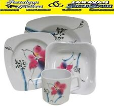 4 person tiger lilly melamine 16 piece dinner set cups plates bowls ACC258c