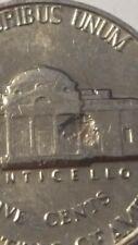 Major error! 1960 Jefferson nickel - huge cud on reverse!
