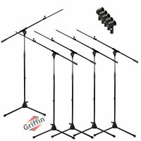 GRIFFIN Microphone Stand with Boom Arm 5 PACK - Tripod Telescoping Studio Mic