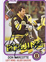 Don Marcotte 1981 OPC Autograph #14 Bruins