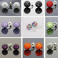 1Pair Austrian Crystal Pave Disco Clay Charms Ball Beads Ear Stud Earrings 10MM