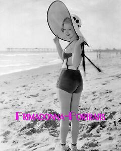 MARY CARLISLE 8X10 Lab Photo B&W Sexy Beach Glamour, Amazing Sun Hat Portrait