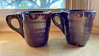 2 Brown Pottery Stoneware Marcrest Coffee Mugs U.S.A. Vintage Daisy