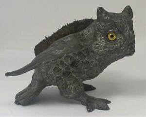 """Antique Spelter Owl Pen Nib Wipe / Blotter (4"""" long) – c1900   (236g)"""
