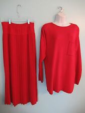J. Peterman Company Red Cotton Knit Flat Pleated Midy Skirt and Tunic sz Med