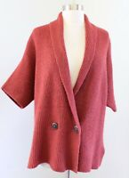 CAbi Rosewood Ribbed Knit Short Sleeve Dolman Cardigan Sweater Size S Rust