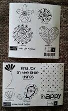 Stampin' Up 2 Sets POLKA DOT PUNCHES / POLKA DOTS & PAISLEY Rubber Stamps Lot