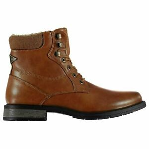 SOVIET Mens Chukka Boots New Smart Formal Military Combat Lace Ankle Fur Shoes