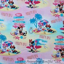 BonEful Fabric FQ Cotton Quilt Disney Minnie Mouse Daisy Duck Scenic Girl Beach