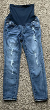 Women's Blue Luxe Essentials Denim Distressed Maternity Skinny Jeans Size 4