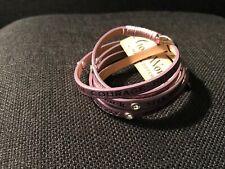 GOOD WORKS Affirmation Inspirational Leather Wrap Bracelet purple  w/Crystals