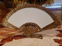 Vintage Ornate BRASS Fan Shaped Picture Frame Easel back Victorian Fan HEAVY