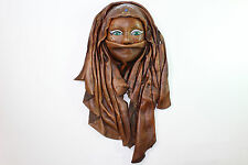 Vintage Real Leather Green eyes Mask Decorative Wall Hanging Art Decor