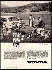 1963 Honda Trail 55 Motorcycle Camping Tent Station Wagon $275 Vintage Print Ad