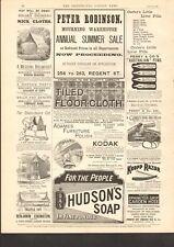 1892 ANTIQUE PRINT- ADVERT- PETER ROBINSON, TILED FLOOR CLOTH, KODAK,KROPP RAZOR