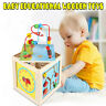 5 in 1  Wooden Toys Activity Cube Box Baby Maze Learning Kids Children Education