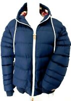 Blue Hooded Red Check Puffer Quilted Padded Jacket UK 16/18 EU 42/44 US 12/14