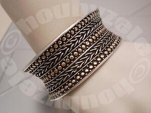 John Hardy Gold Dot Sterling and 18K Cuff Bracelet
