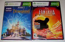 Xbox 360 KINECT Game Lot - Disneyland Adventures (New) Disney Fantasia (New)