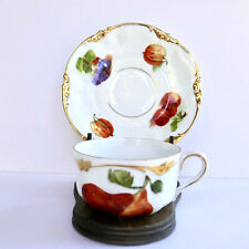 Erdmann Schlegelmilch Fruits Cup Saucer Heavy Gold Hand Painted Germany Vintage