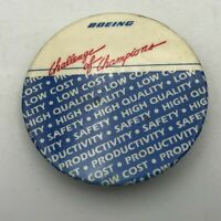 "Vtg Boeing Challenge Of Champions Airplane Mfg Advertising 2-1/4"" Pinback  Y4"