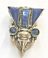 Fab Vintage Czech Art Deco Dress Clip Egyptian Revival Lapis Blue