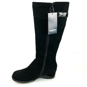 Aquatherm By Santana Canada Boots 7 Fonda Tall Black Suede Waterproof Zip Up New