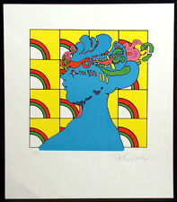 """Peter Max """"Lady On Pattern"""" Signed Pop Art unframed Lithograph 1976 Make Offer!"""