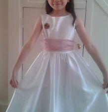 Haute Qualité Satin Fleur Fille Robe en Blanc, Age7-9 ans